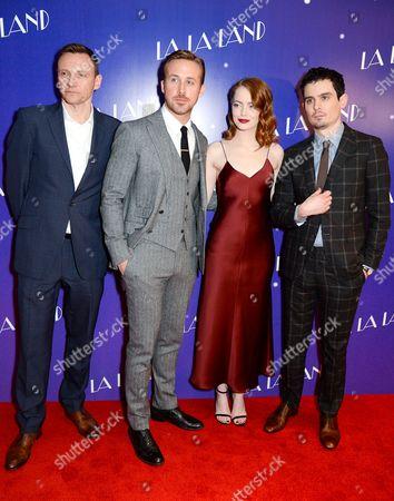 Zygi Kamasa, Ryan Gosling, Emma Stone and Damien Chazelle