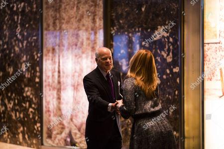 Henry Kravis (co-founder of KKR) arrives at Trump Tower in Manhattan