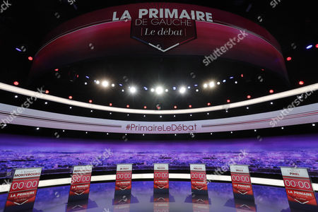General view of the TV set before the debate of the candidates for the socialist party primaries ahead of the 2017 presidential election French former minister Arnaud Montebourg, French politician Jean-Luc Bennahmias, French politician FranÂ?ois de Rugy, French former minister Benoit Hamon, French former minister Vincent Peillon, French former Prime minister Manuel Valls and French former minister Sylvia Pinel at the studios of TF1 in Paris, France, 12 January 2017. France's seven left-wing presidential candidates hold their first televised debate before the first round of their primary on 22 January.