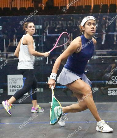 Squash Malaysia's 7th ranked Nicol David, right, and France's 3rd ranked Camille Serme, left, warm-up for the 20th anniversary of the JP Morgan Tournament of Champions professional squash competition, in New York at Grand Central terminal in New York. The competition runs Jan.12 through Jan. 19