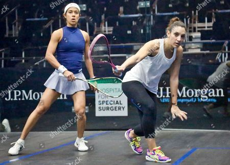 Squash Malaysia's 7th ranked Nicol David, left, and France's 3rd ranked Camille Serme, right, warm-up for the 20th anniversary of the JP Morgan Tournament of Champions professional squash competition, in New York at Grand Central terminal in New York. The competition runs Jan.12 through Jan. 19