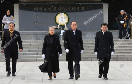 Stock Image of Ban Ki-moon, Yoo Soon-taek Former U.N. Secretary-General Ban Ki-moon, center right, and his wife Yoo Soon-taek visit the National Cemetery in Seoul, South Korea, . Ban said Thursday he'll soon announce whether to run for South Korea's top job as he returned home and strongly hinted at his political ambitions before hundreds of cheering supporters
