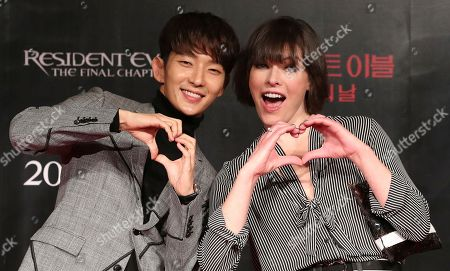Actress Milla Jovovich Actor Lee Joon Gi Editorial Stock Photo