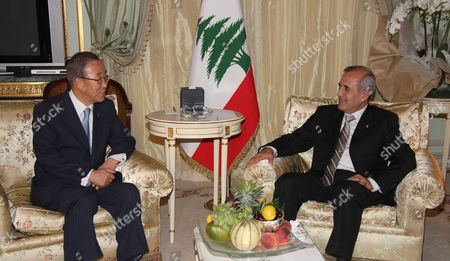 Lebanese President Michel Suleiman and United Nations Secretary General Ban ki-Moon