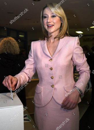 Belinda Stronach Former President and Ceo of Magna International Casts Her Ballot For Leader of Canada's Federal Conservative Party in Her Hometown of Aurora Canada On 20 March 2004 Stronach is One of Three People Vying For the Party Leadership Which Will Be Decided Later Today in January 2004 Stronach Stepped Down From Magna International and Entered Canadian Federal Politics
