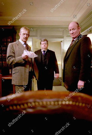 'PD James Mini Series'   TV   'A Certain Justice'  Picture shows - Commander Adam Dalgliesh played by Roy Marsden is joined by the shocked Frederick Treves as Hubert St John Langton and Ian McNeice as Desmond Ulrick