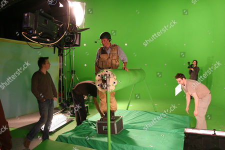 'Impossible Journey'    Picture shows: Behind the scenes with NIGEL MARVEN getting last minute instructions from director JONATHAN RUDD on the green screen dragonfly scenes