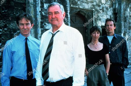 'The Ruth Rendell Mysteries'   TV  'Simisola' Picture shows -  Christopher Ravenscroft as Det. Insp. Mike Burden, George Baker as Det. Chief Insp. Reg Wexford, Sasha Mitchell as DS Karen Malahyde and Robin Kermode as Sergeant Vine