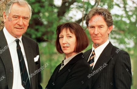 'The Ruth Rendell Mysteries'   TV  'Harm Done'  Picture shows - George Baker as Det. Chief Insp. Reg Wexford, Christopher Ravenscroft as Det. Insp. Mike Burden and Sasha Mitchell as DS Karen Malahyde