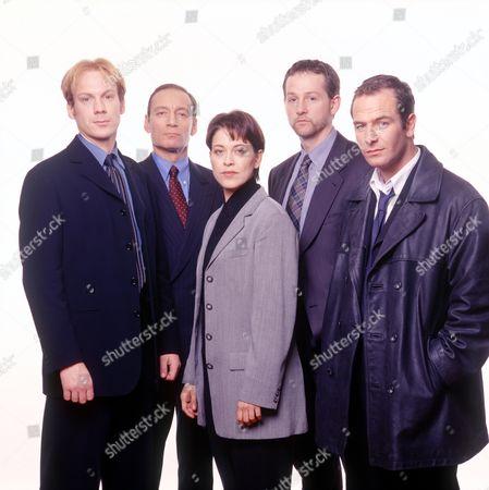 'Touching Evil' TV Mini Series - Shaun Dingwall, Michael Feast, Nicola Walker, Adam Kotz and Robson Green.