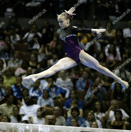 Spain's Elena Gomez Goes Through Her Routine On the Balance Beam Duirng Women's Team Final Competition at the World Gymnastic Championships Wednesday 20 August 2003 in Anaheim California Spain Finished Fifth in the Competition Epa Photo/epa/jack Smith United States Anaheim