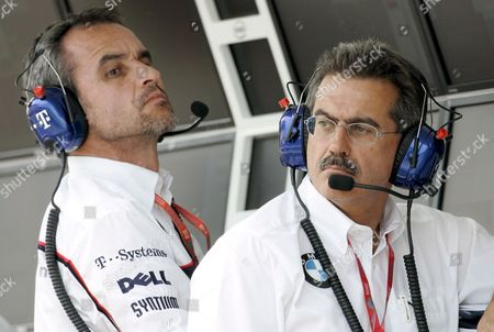 German Dr Mario Theissen (r) Bmw Motorsport Director of Bmw Sauber and Swiss Beat Zehnder Teammanager of Bmw Sauber Seen in the Command Stand During the First Training Session For the Formula One Grand Prix of Hungary at the Hungaroring Race Track Near Budapest Hungary 01 August 2008 the Grand Prix Will Take Place On Sunday 03 August 2008 Photo: Felix Heyder
