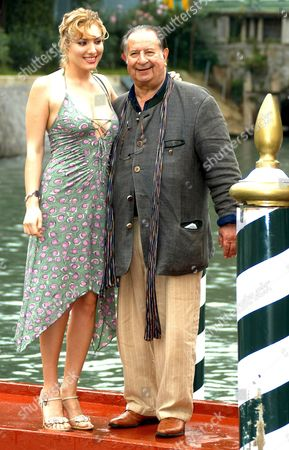 Italian Erotic Movie Director Tinto Brass (r) and Actress Anna Jimskay Pose For a Photo After Arriving at the Wet Dock of Venice's Lido on Saturday 03 September 2005 Within the 62nd International Exhibition of Cinema Art Better Known As Venice Film Festival Italy Venice