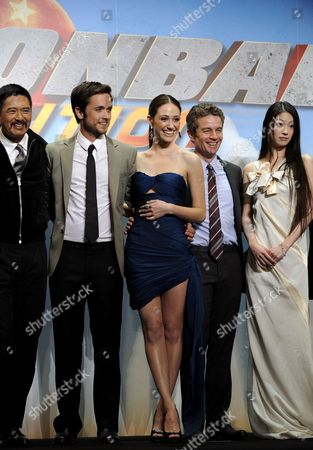 Cast Members (from L to R) Hong Kong Actor Chow Yun-fat Canadian Actor Justin Chatwin Us Actress Emmy Rossum Us Actor James Marsters and Japanese Actress Megumi Seki Pose During the World Premiere of Their New Movie 'Dragonball Evolution' in Tokyo Japan 10 March 2009 the Movie by Us Director James Wong Will Be Screened in Japan From 13 March