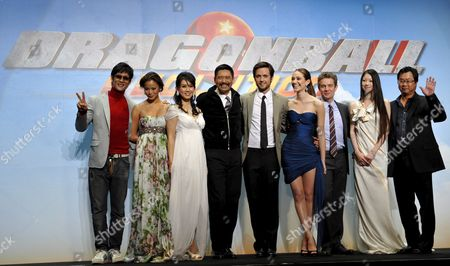 Cast Members (from L to R) South Korean Actor Park Joon Us Actress Jamie Chung Japanese Actress Eriko Tamura Hong Kong Actor Chow Yun-fat Canadian Actor Justin Chatwin Us Actress Emmy Rossum Us Actor James Marsters Japanese Actress Megumi Seki and Us Film Director James Wong Pose During the World Premiere of Their New Movie 'Dragonball Evolution' in Tokyo Japan 10 March 2009 the Movie Will Be Screened in Japan From 13 March