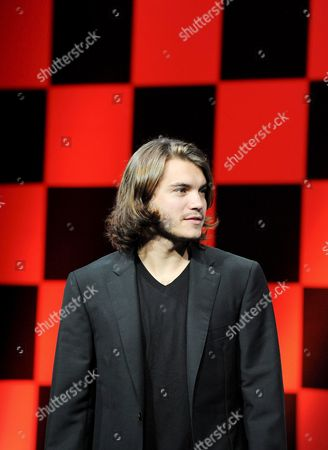 Us Actor Emile Hirsch Poses For Photographers at a Press Conference to Promote His Film Speed Racer at a Hotel in Tokyo 30 June 2008 the Film Opens in Theaters in Japan From July 5