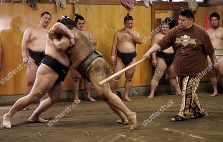 Unidentfied Sumo Wrestlers Training at the Sadogatake Sumo Stable Home of Bulgarian Sumo Star Kotooshu in Matsudo East of Tokyo Wednesday 31 May 2006 Sumo is One of the Traditional Sports of Japan But is Gaining in Popularity Around the World
