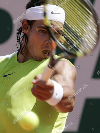 Rafael Nadal of Spain Returns the Ball During His Quarter Final Match Against Guillermo Coria of Argentina at the Atp Master Series Monte Carlo Open Tennis Tournament in Monaco Friday 21 April 2006