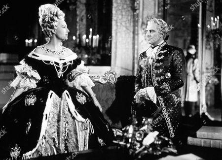 'Shadow of the Eagle'  Film - 1950 -  Catherine the Great (Binnie Barnes) talks with General Korsakov (Charles Goldner).