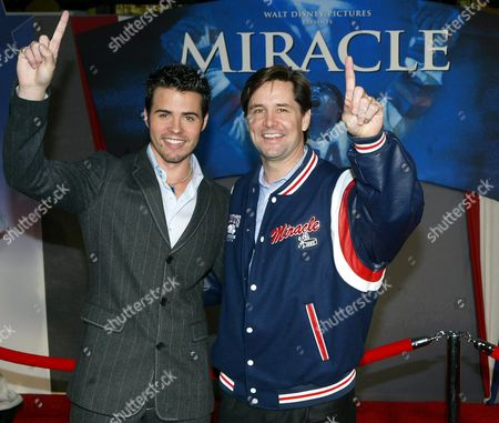 Actor Nathan West (l) Poses with 1980 Gold Medalist Rob Mcclanahan Who He Portrays in 'Miracle' As They Arrive For the Films Premiere in Hollywood Monday 02 February 2004 the Film Recounts the Story of Coach Herb Brooks Played by Kurt Russell and the 1980 Gold Medal Winning U S Olympic Hockey Team the Film Opens 06 February 2004 in the United States