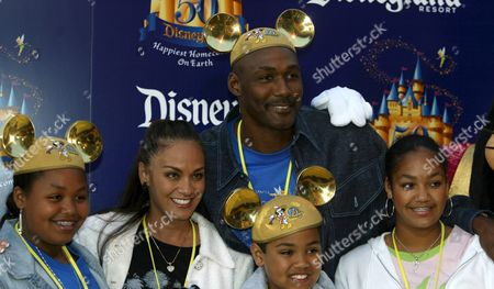 Former L a Lakers Player Karl Malone and His Family Arrive at the Gold Carpet On Main Street in Disneyland Anaheim For a Private Party For Disneyland's 50th Anniversary On Wednesday 04 May 2005