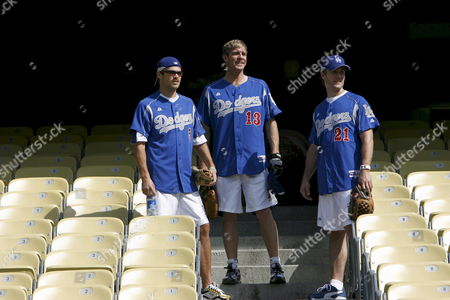 Us Actors (l-r) George Stults Kenny Johnson and James Van Der Beek Arrive Before the 49th Annual Hollywood Stars Baseball Game at Dodger Stadium in Los Angeles California 09 June 2007