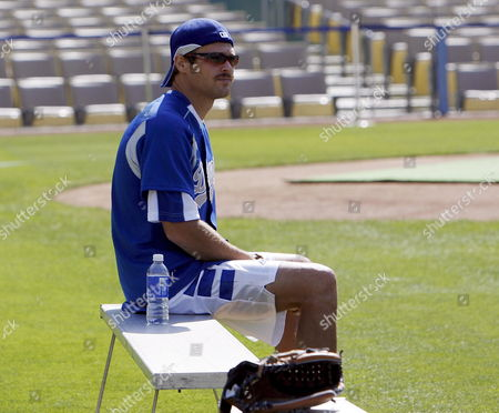 Us Actor George Stults Sits On the Bench Before the 49th Annual Hollywood Stars Baseball Game at Dodger Stadium in Los Angeles California 09 June 2007