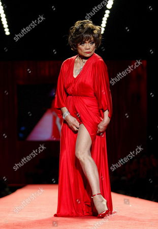 Actress Eartha Kitt Wearing a Laimilla Designed Dress Poses As She Walks Down the Runway During the Fall 2006 Showing of the Heart Truth Red Dress Collection at Olympus Fashion Week in New York Friday 03 February 2006 the Show is to Benefit Heart Disease
