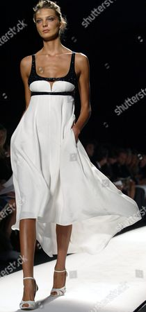 Stock Picture of A Model Walks Down the Runway During the Narcisco Rodriguez Spring/summer 2005 Collection Show at Olympus Fashion Week in New York Tuesday 14 September 2004