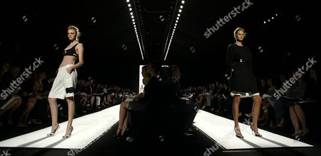 Two Models Walk Down the Runway During the Narcisco Rodriguez Spring/summer 2005 Collection Show at Olympus Fashion Week in New York Tuesday 14 September 2004