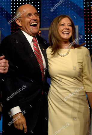 Republican Candidate For United States President Former Mayor of New York Rudy Juliani (l) and His Wife Donna Hanover (r) Laugh On Stage Following a Debate Held at the University of New Hampshire in Durham New Hampshire Usa 05 September 2007
