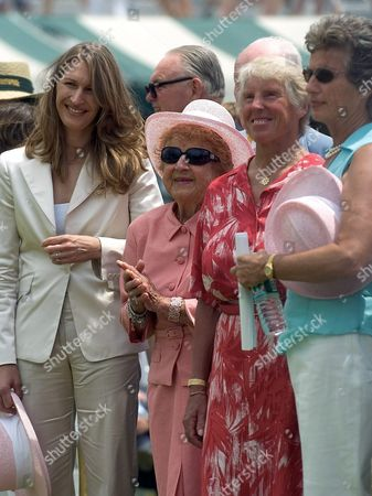 German Tennis Star Steffi Graff (l) Stands with American Dorothy Cheney England's Ann Haydon Jones and England's Virginia Wade During the Tennis Hall of Fame 50th Anniversary Celebration in Newport Rhode Island Saturday 10 July 2004 Graf Along with Stefan Edberg and Cheney Are to Be Inducted Into the Hall of Fame On Sunday