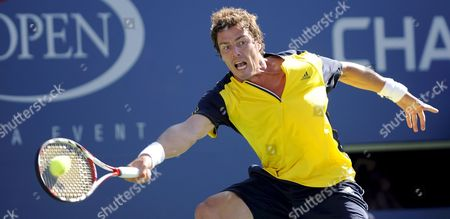 Marat Safin of Russia Reaches For a Forehand Return to Vincent Spadea of the Us During Their First Round Match On the Second Day of the 2008 Us Open Tennis Tournament in Flushing Meadows New York Usa On 26 August 2008