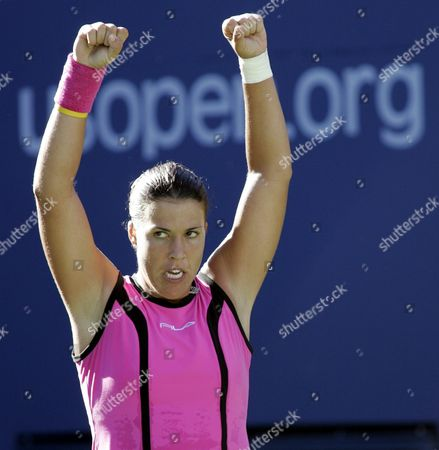 Number Eight Seed Jennifer Capriati of the Us Reacts After Winning a Long Point Against Number Six Seed Elena Dementieva of Russia in the Semi-final Round at the Us Open in Flushing Meadows New York Friday 10 September 2004 the Winner of the Match Will Go On to Face Svetlana Kuznetsova of Russia in the Women's Final