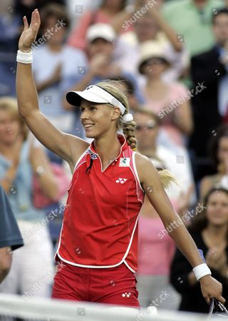 Number Six Seed Elena Dementieva of Russia Celebrates After Defeating Number Eight Seed Jennifer Capriati of the Us in the Semi-final Round at the Us Open in Flushing Meadows New York Friday 10 September 2004 Dementieva Beat Capriati 6-0 2-6 7-6 and Will Face Svetlana Kuznetsova of Russia in the Women's Final