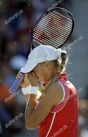 Number Six Seed Elena Dementieva of Russia Reacts During Her Match Against Number Eight Seed Jennifer Capriati of the Us in the Semi-final Round at the Us Open in Flushing Meadows New York Friday 10 September 2004 the Winner of the Match Will Go On to Face Svetlana Kuznetsova of Russia in the Women's Final