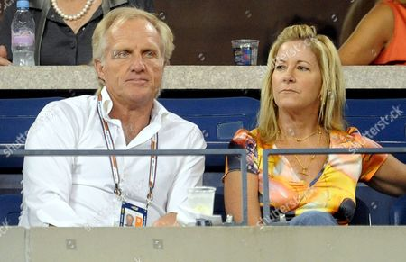 Greg Norman (l) and Chris Evert Watch As Novak Djokovic of Serbia Plays Andy Roddick of the Us During Their Quarter Finals Round Match On the Eleventh Day of the 2008 Us Open Tennis Tournament in Flushing Meadows New York Usa On 04 September 2008