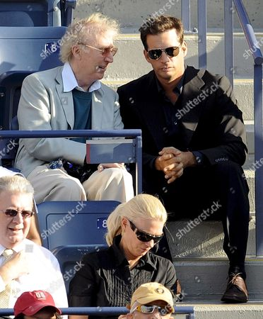 Us Actor Gene Wilder (l) Talks with Us Singer Harry Connick Jr As They Watch Roger Federer of Switzerland Play Andy Murray of Great Britain During the Men's Final On the Fifteenth Day of the 2008 Us Open Tennis Tournament in Flushing Meadows New York Usa On 08 September 2008