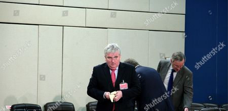 British Defence Secretary Des Browne Prior to a Nato Defence Ministers Meeting at Nato Headquarters in Brussels 13 June 2008 Nato Defense Ministers Agreed That the Alliance Should Train Kosovo's Future Security Force Despite Disagreeing On the Region's Status Three Days Before Kosovo's Constitution is Due to Come Into Effect the 26-member Alliance Had Been Deadlocked Over the Plan Laid out in 2007 by Un Special Envoy Martti Ahtisaari For Nato to Train the Kosovo Security Force (ksf) Because Several Members Including Spain Slovakia and Romania Had Refused to Recognize Kosovo's Independence