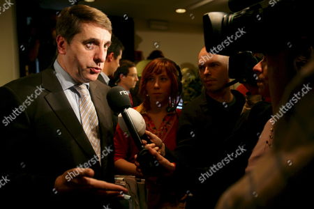 Fdf Chairman Olivier Maingain Talks to the Press After Leaving the Commission Ahead of the Vote On the Proposition to Split the Electoral District of Brussels at the Chamber Commission of Interior Affairs in Brussels Belgium On 07 November 2007 Flemish Lawmakers Voted Today Against Special Voting Rights For French-speakers in Brussels' Suburbs Causing Their Francophone Counterparts to Leave the Room As Tensions Reached a New High
