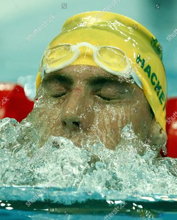 Grant Hackett of Australia Comes out of the Water After Finishing Heat 5 of the Men's 400m Freestyle at the National Aquatics Center During the 2008 Olympic Games in Beijing China 09 August 2008