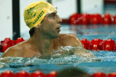 Grant Hackett of Australia Looks Towards the Clock After Finishing Heat 5 of the Men's 400m Freestyle at the National Aquatics Center During the 2008 Olympic Games in Beijing China 09 August 2008