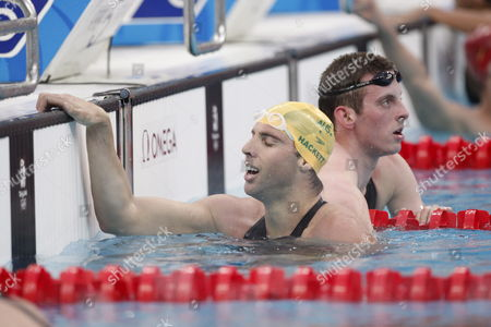 Grant Hackett of Australia Reacts After Swiming to a Silver Medal in the Men's 1500m Freestyle Swimming at the Beijing 2008 Olympic Games in the National Aquatics Center Beijing China 17 August 2008 China Beijing