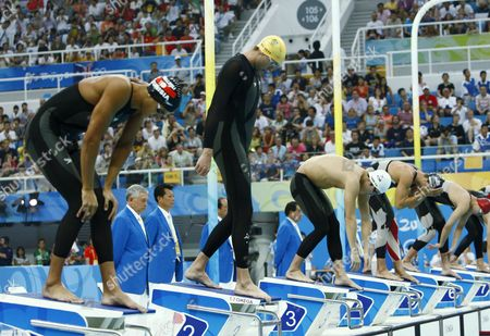 Australia's Grant Hackett (yellow Cap) Prepares to Start in the Men's 400m Freestyle During the 2008 Olympics at the National Aquatics Center in Beijing China 10 August 2008 China Beijing