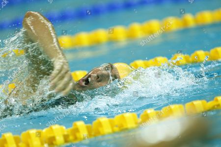 Grant Hackett of Australia Competes During the Men's 400m Freestyle Heat 5 at the National Aquatics Center During the 2008 Olympic Games in Beijing China 09 August 2008 China Beijing