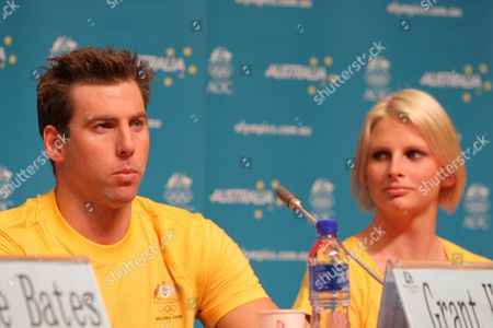 (l-r) Australian Swimmers Grant Hackett and Leisel Jones Appear at the Press Conference at the Main Press Centre of the Olympic Games Beijing China 05 August 2008 China Beijing