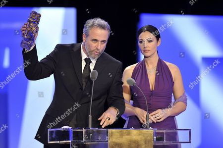 Israeli Director Ari Folman Delivers a Speech After Receiving the Best Foreign Movie Award For His Film 'Waltz with Bachir' From Italian Actress Monica Bellucci (r) During the 34th Cesar Awards Ceremony at the Theatre Du Chatelet in Paris France 27 February 2009 the Nominations Are Selected by the Members of the Academie Des Arts Et Techniques Du Cinema National Film Award of France First Given out in 1975
