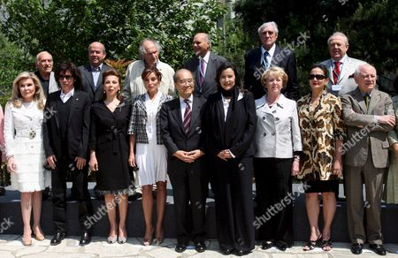 The Unesco Goodwill Ambassadors (first Row L-r) Greek Marianna Vardinoyannis French Singer Jean Michel Jarre Princess Firyal of Jordan First Lady of Azerbaidjan Mehriban Aliyeva Unesco Director Ko?chiro Matsuura Princess Lalla Miryem From Morocco Former President of Island Vigdis Finnbogadottir Indonesian Actress Christine Hakim Christina Owen-jones (back Row L-r) French Astronaut Patrick Baudry Ivry Gitlis Indian Madanjeet Singh Jean Malaury and Miguel Angel Estrella Pose For a Familly Picture Before the Annual Meeting at the Unesco in Paris France 20 May 2008 the Goodwill Ambasadors Are an Outstanding Group of Celebrity Who Spread the Ideals of Unesco Through Their Name and Fame the Aim of the Meeting is to Examinate the Best Way to Promote Subjects As Education For All Cultural Differences Ecology and Water Through Climate Changing the Meeting Runs Until 21 May 2008