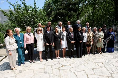 The Unesco Goodwill Ambassadors (first Row L-r) Argentinan Singer Susana Rinaldi German Ute-henriette Ohoven Greek Marianna Vardinoyannis French Singer Jean Michel Jarre Princess Firyal of Jordan First Lady of Azerbaidjan Mehriban Aliyeva Unesco Director Ko?chiro Matsuura Princess Lalla Miryem From Morocco Former President of Island Vigdis Finnbogadottir Indonesian Actress Christine Hakim Christina Owen-jones Malian Cheick Modibo Diarra and Vietnamese Kim Phuc Phan Thi Known For the Picture of Photographer Nick Ut (back Row L-r) French Astronaut Patrick Baudry Ivry Gitlis Indian Madanjeet Singh Jean Malaury and Miguel Angel Estrella Pose For a Familly Picture Before the Annual Meeting at the Unesco in Paris France 20 May 2008 the Goodwill Ambasadors Are an Outstanding Group of Celebrity Who Spread the Ideals of Unesco Through Their Name and Fame the Aim of the Meeting is to Examinate the Best Way to Promote Subjects As Education For All Cultural Differences Ecology and Water Through Climate Changing the Meeting Runs Until 21 May 2008