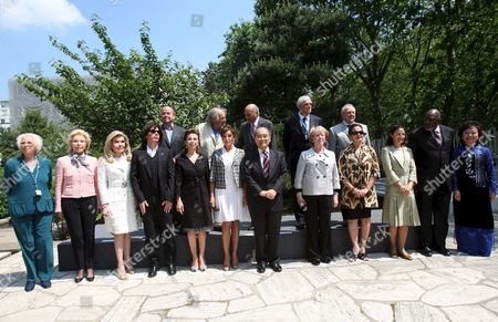 The Unesco Goodwill Ambassadors (first Row L-r) Argentinan Singer Susana Rinaldi German Ute-henriette Ohoven Greek Marianna Vardinoyannis French Singer Jean Michel Jarre Princess Firyal of Jordan First Lady of Azerbaidjan Mehriban Aliyeva Unesco Director Ko?chiro Matsuura Former President of Island Vigdis Finnbogadottir Indonesian Actress Christine Hakim Christina Owen-jones Malian Cheick Modibo Diarra and Vietnamese Kim Phuc Phan Thi Known For the Picture of Photographer Nick Ut (back Row L-r) French Astronaut Patrick Baudry Ivry Gitlis Indian Madanjeet Singh Jean Malaury and Miguel Angel Estrella Pose For a Familly Picture Before the Annual Meeting at the Unesco in Paris France 20 May 2008 the Goodwill Ambasadors Are an Outstanding Group of Celebrity Who Spread the Ideals of Unesco Through Their Name and Fame the Aim of the Meeting is to Examinate the Best Way to Promote Subjects As Education For All Cultural Differences Ecology and Water Through Climate Changing the Meeting Runs Until 21 May 2008